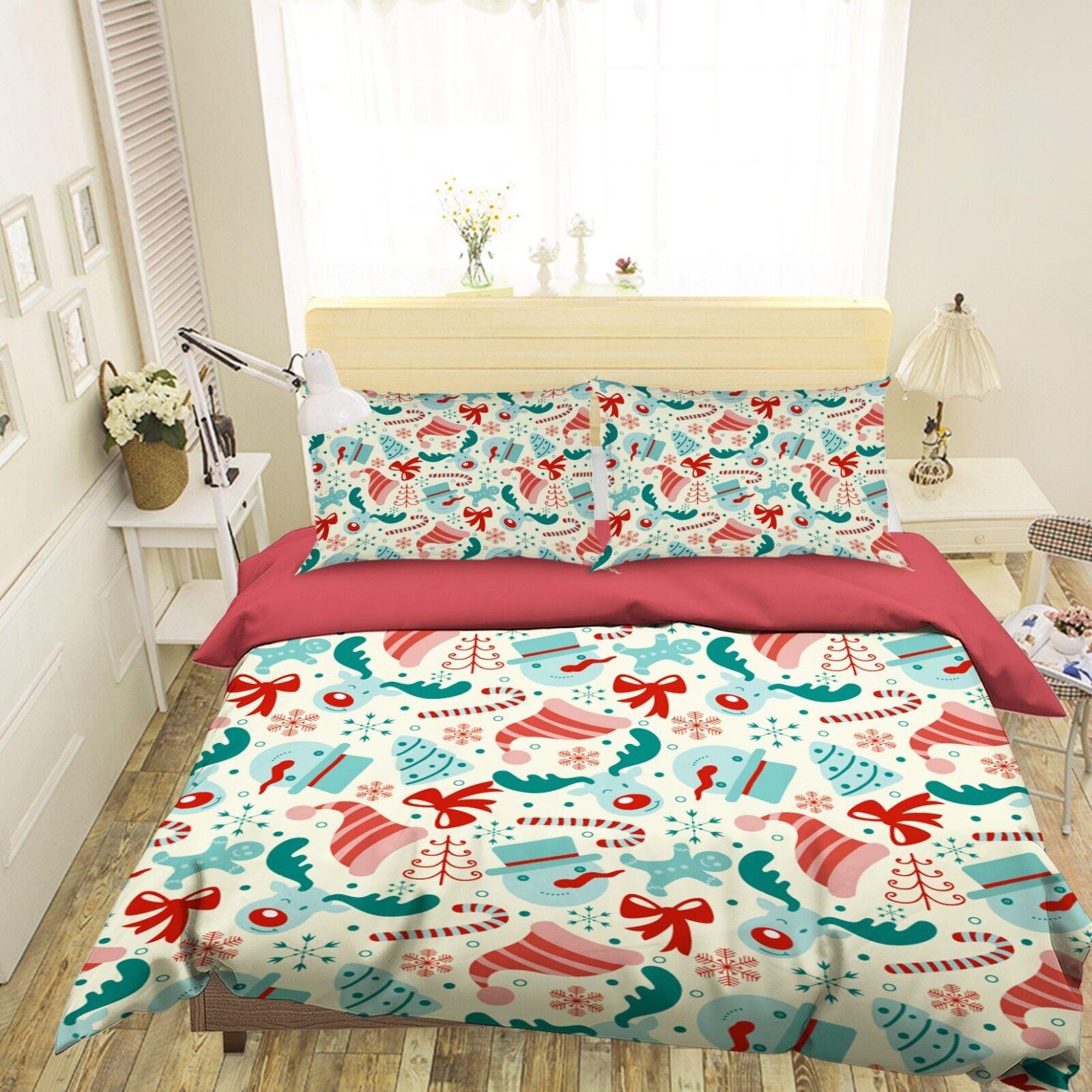 3D Christmas Xmas Fun 99 Bed Pillowcases Quilt Duvet Cover Set Single Queen UK