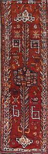 "Antique Geometric 11' Runner Lori Tribal Oriental Rug Hand-Made 10' 11"" x 3' 8"""