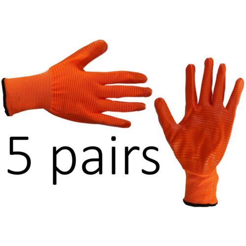5 X Guantes De Trabajo De Seguridad Forro antideslizante agarre revestida de Látex Constructores de reparación Talla M