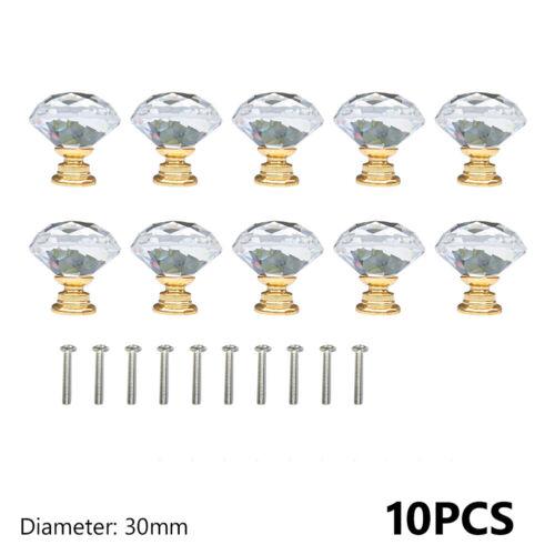 Glass Diamond Crystal Dresser Knobs Drawer Pull Handle Cabinet Door Lots 10Pcs