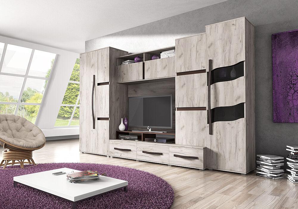 Details Zu Wohnwand Mit Kleiderschrank 80cm Anbauwand Wohnzimmer Set 6 Tlg Tv Schrank