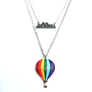 Rainbow Hot Air Balloon Necklace