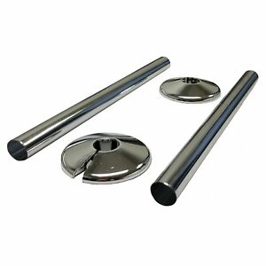 2 X NEW CHROME RADSNAPS RADIATOR PIPE COVERS + COLLARS - FREE UK DELIVERY *