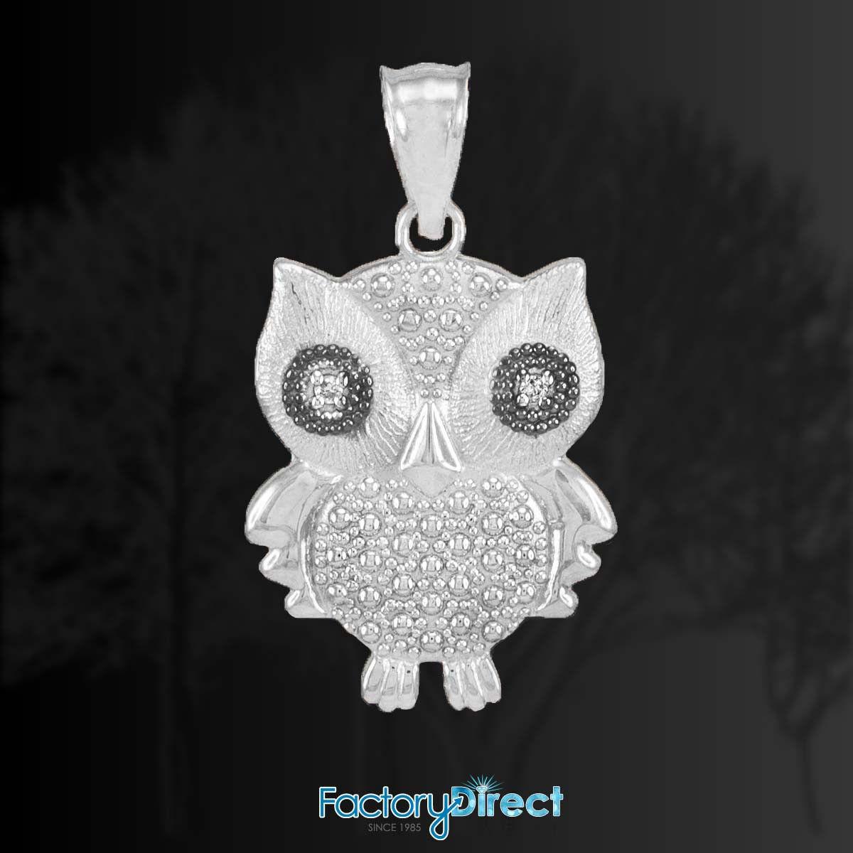 White gold Owl Pendant with Diamonds