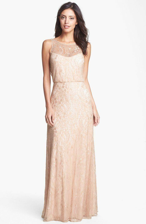 Aidan Mattox Blaush Rosa Lace Beaded Blouson Illusion Vback Gown NWT A453