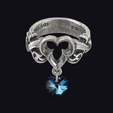 ALCHEMY GOTHIC DOGARESSA'S LAST LOVE RING. SIZE N. SWAROVSKI CRYSTAL HEART