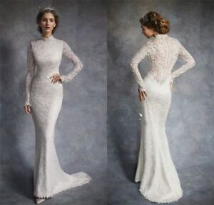 High-end High-neck Mermaid Lace White Wedding dress Long Sleeve ...