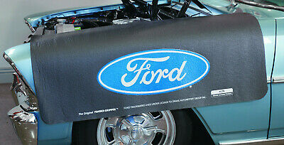 Black Fender Gripper Protective Cover Cushion w// Blue Oval Emblem Logo For Ford