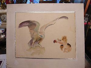 Aquarelle-Aigle-Andre-Simon-1926-2014-Artiste-Lorrain-1950