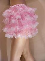 Sissy Adult Baby Fancy Dress Pink Sequin Organza Micro Mini Skirt Coplay Tv Cd