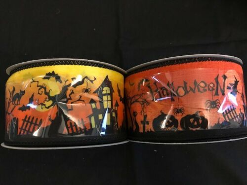 3 metres of Halloween Ribbon wire edge 62mm wide 2 variations