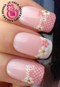 PINK-WHITE-GLITTER-NAIL-ART-LACE-FLOWER-TIPS-STICKERS-DECALS-DECORATION-SET-535