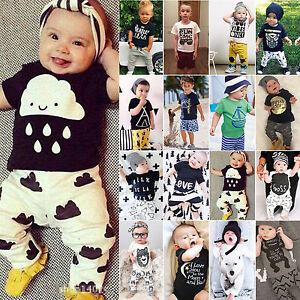 kinder baby kombinationen set t shirt tops hose jungen sommer kleidung outfits ebay. Black Bedroom Furniture Sets. Home Design Ideas