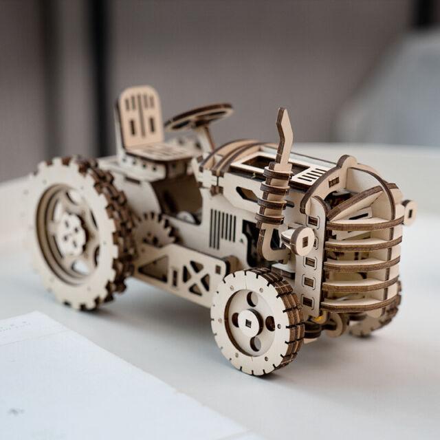 Robotime DIY Hand Crank Gear Drive Tractor 3d Wooden Model Building Kits  Toys