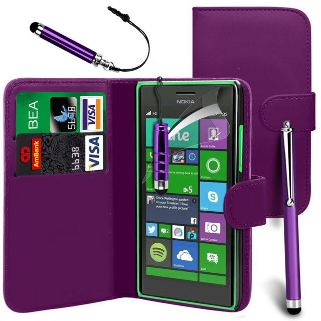 Purple PU Leather Wallet Flip Case Cover, Film & 3 Pens For Various Phones