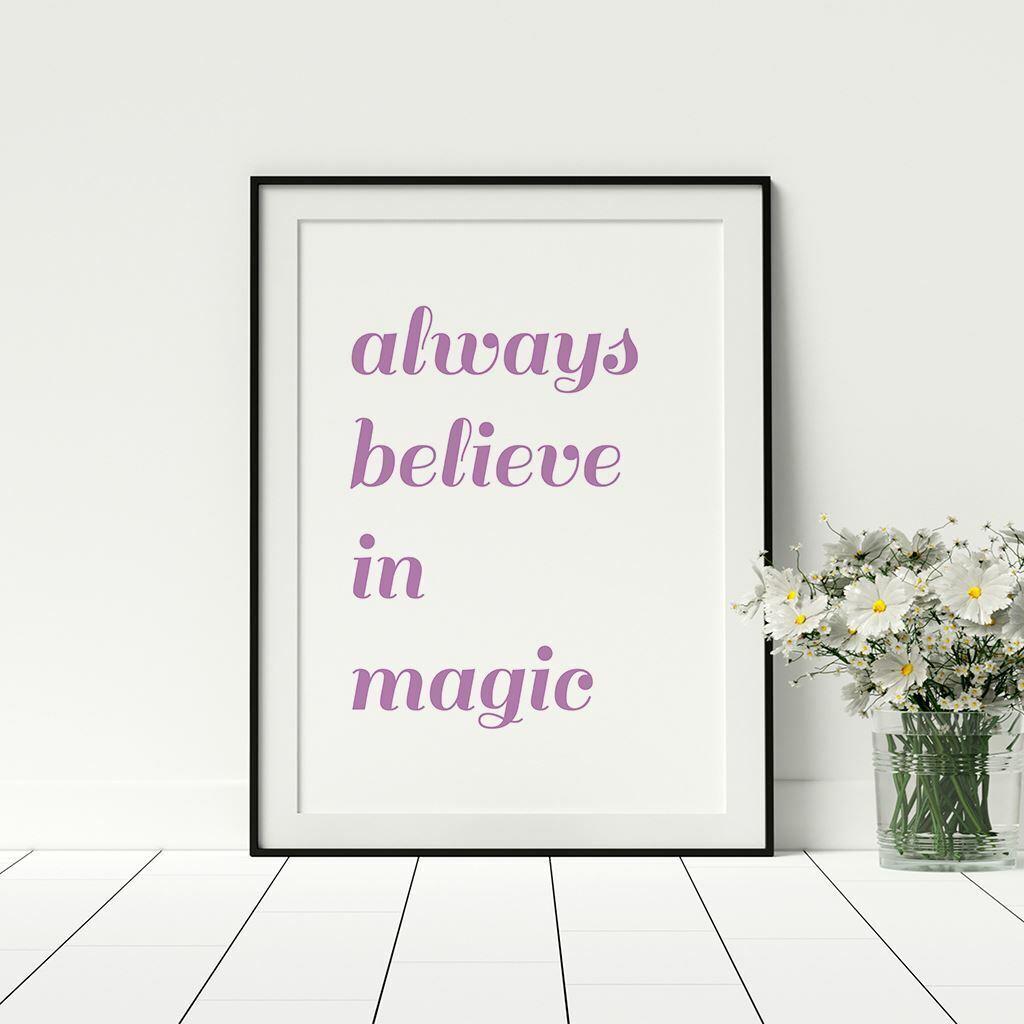 Siempre creo en Magic cotización para Childs Playroom Impresión Pared Arte Vivero