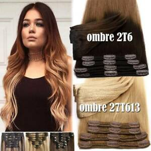 100-Thick-Full-Head-Double-Weft-Clip-In-Remy-Human-Hair-Extensions-Black-Blonde