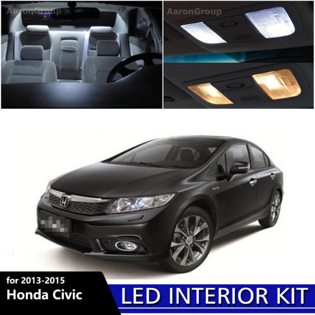 6PCS White Interior LED Light Package Kit For 2013   2015 Honda Civic