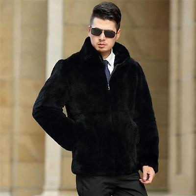 Royal Homme Manteau Fourrure Vraie d'élevage Lapin Veste Zip