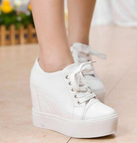 New Women/'s High-top Wedge Hidden Heel Platform Sneakers Lady Trainer Shoes Size