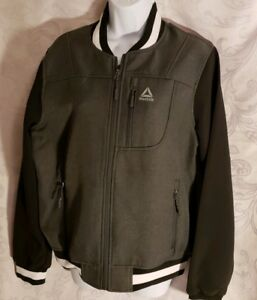fb774cdfe Details about NWT Reebok Womens LG Softshell Bomber Jacket Charcoal