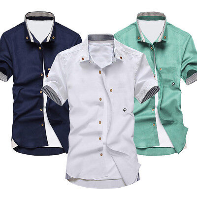 Cotton Summer Wear Men's Short Sleeve Shirt Embroidery Men's Casual Shirt