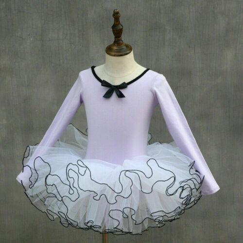 Mädchen Kinder Ballett Tanz Kleid Trikot Tutu Rock Langärmlig Baumwolle Neu