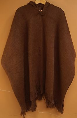 NEW, ALPACA - LLAMA WOOL HOODED PONCHO, CLOAK, HOODIE, DARK BROWN, ANDEAN JEDI a
