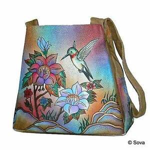 Image is loading Sova-Hand-Painted-Leather-Tote-Bag cf456683cc