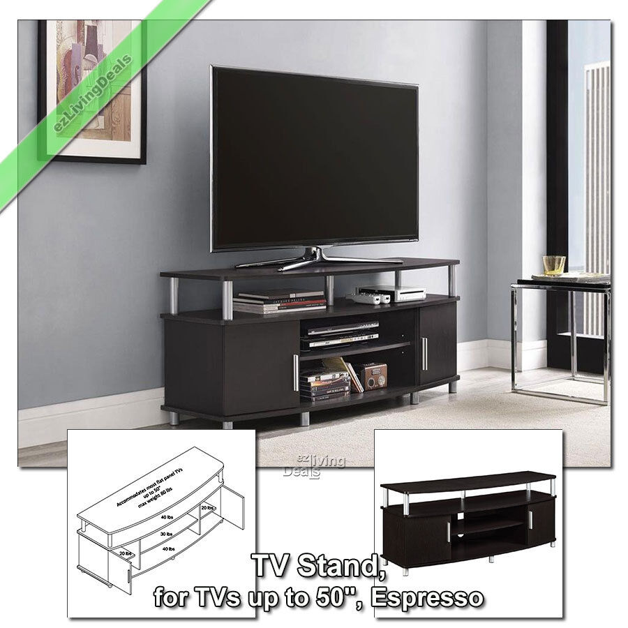 50 inch tv stands for flat screens carson tv stand media console table espresso. Black Bedroom Furniture Sets. Home Design Ideas