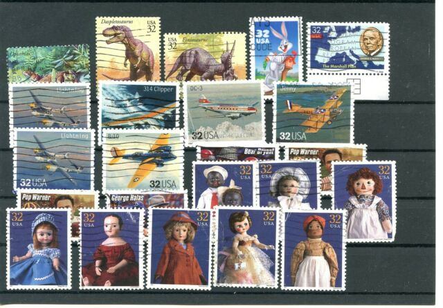 USA Used Stamps Collection Dolls Prehistoric Animals Aviation Planes