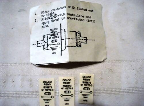 1953-1955 Corvette Voltage Regulator Capacitor Decal New Pkg of 3 # 1926873