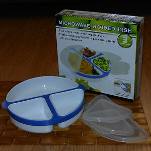 Handy-Helpers-MICROWAVE-DIVIDED-DISH-POP-OUT-SECTIONS-LID-PLASTIC-WHITE-BLUE-New