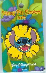 Disney-Pin-Flowers-Pin-Pursuit-2004-Stitch-GENUINE-ORIGINAL-PIN-ON-CARD