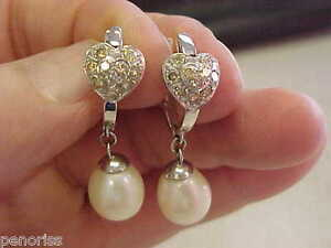 Beautiful large pearl diamond chandelier earrings 14k wg make image is loading beautiful large pearl amp diamond chandelier earrings 14k aloadofball Image collections