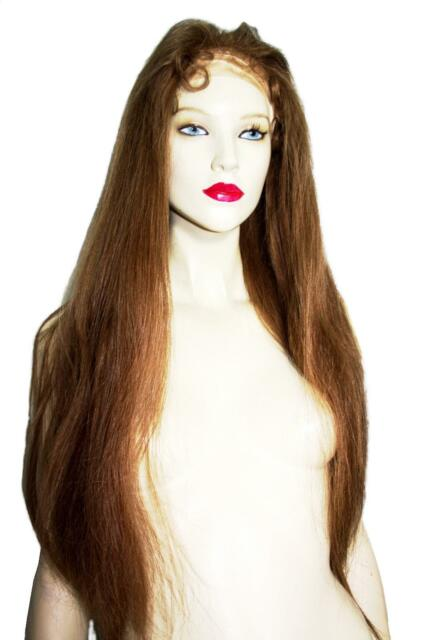Remi Remy Indian Human Hair Full Lace Wig Long #11 Medium Brown Silky Straight