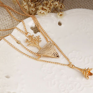 Sale-Summer-Girl-Women-Multilayer-Chain-Pendant-Necklace-Brand-New-Fashion