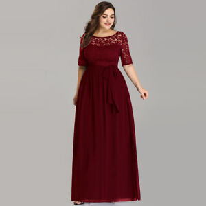 Details about Ever-Pretty US Plus Size Burgundy Bridesmaid Gown Lace  Chiffon Party Dress 07624