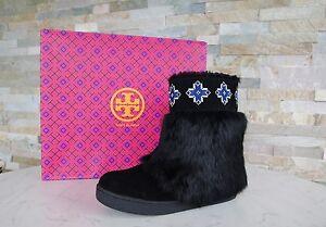 Tory-Burch-36-6-peau-de-mouton-fourrure-lievre-Bottines-nouvelles-chaussures