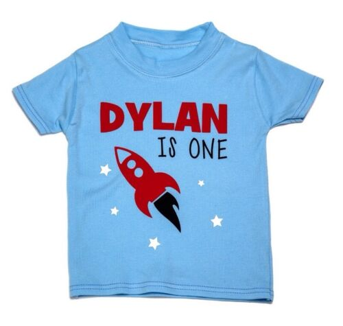 t-shirt Baby boy PERSONALISED 1st birthday Rocket design short sleeve tee-shirt