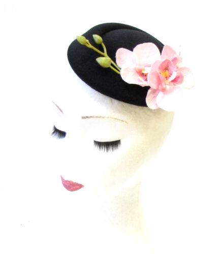 Black Light Pink Orchid Flower Pillbox Hat Fascinator Vtg Rockabilly 1950s 1340