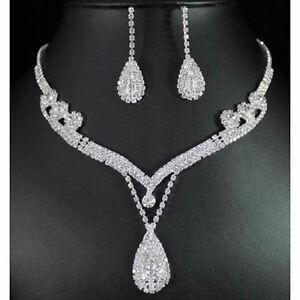 New-Crystal-Rhinestone-Earring-Tear-Drop-Necklace-Bridal-Bridesmaid-Jewelry-Set