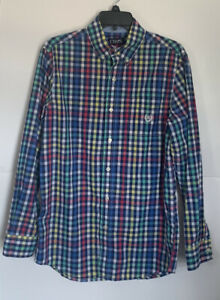 CHAPS-Easy-Care-Mens-Long-Sleeve-Button-Down-Red-Green-Blue-Plaid-Shirt-Small