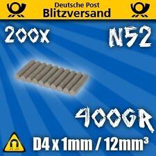 200x Neodym Magnet Scheibe D4x1mm N52  magnetisch Geocaching starke Minimagnete