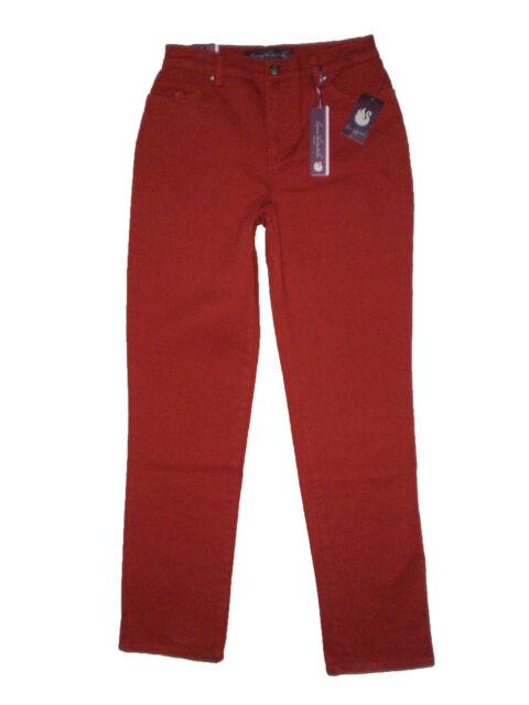 Gloria Vanderbilt Amanda Heritage Tapered Leg Stretch Denim Magma Red Jeans New