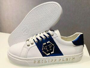 Philipp-Plein-UK-7-EU-41-US-8-Blue-amp-White-Stripped-Sneakers-Shoes
