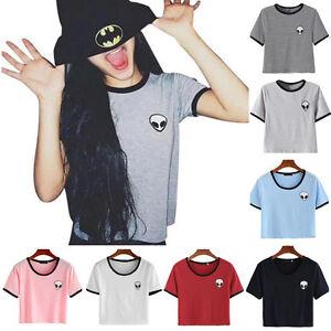 Fashion-Women-Summer-Cotton-Tee-Blouse-Casual-Crop-Top-Alien-3D-Print-T-Shirt