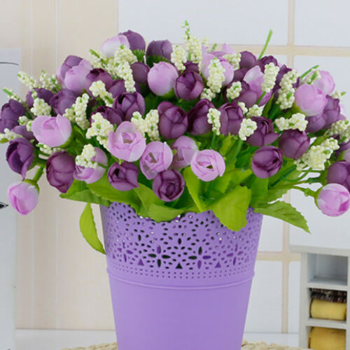 15Buds//Bouquet Artifical Fake Rose Silk Flower Bridal Wedding Party Home Decor