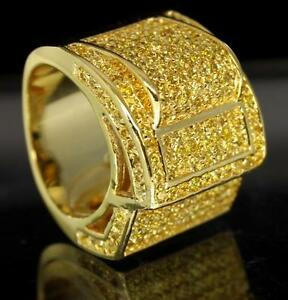 Jumbo Cluster Icy 14kt Gold Finish Large Cz Bling Hip Hop