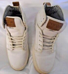 2bda60a8 Details about VANS OTW Men's 6.5 White Leather Upper Brown trim Blue White  Lining Ankle Unisex